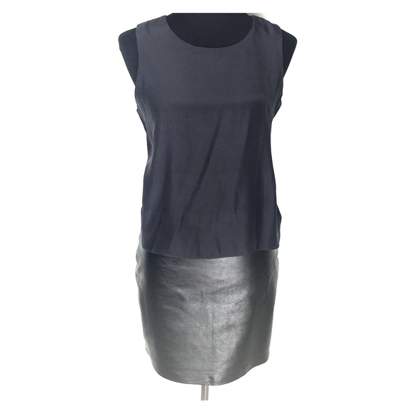 92bf43ec769 Parker Black Leather Skirt   Silk Top Mini Dress. M 5b481b29a5d7c65c024d90c2
